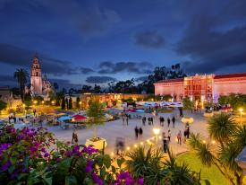 A nighttime view of Balboa Park in San Diego, California