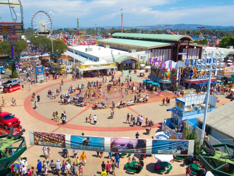 An aerial view of the Orange County Fair