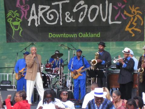 A band playing at Oakland's Art & Soul festival