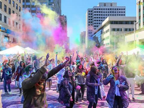 Celebrating the colorful Holi Hai Indian Celebration