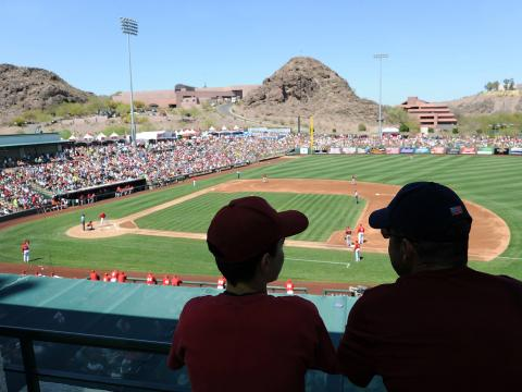 Watching a baseball spring training game in Tempe, Arizona