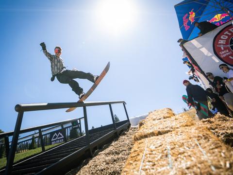 Snowboarding during the Hot Dawgz & Hand Rails event in Big Bear Lake, California