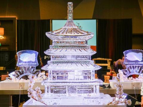 Ice sculpture on display at the Sushi & Sake Festival at Pechanga Resort in Temecula, California
